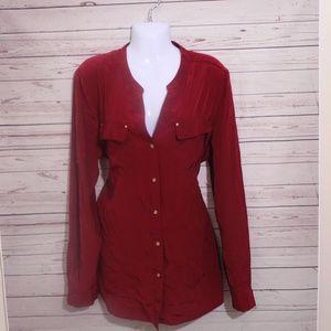 Rafaella Womens Red Blouse, Long Sleeve, Button Up